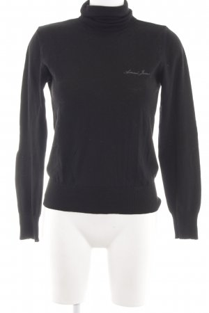 Armani Jeans Knitted Sweater black embroidered lettering casual look