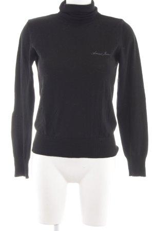 Armani Jeans Strickpullover schwarz Schriftzug gestickt Casual-Look