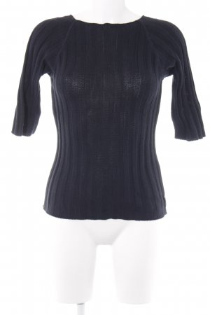 Armani Jeans Knitted Sweater dark blue striped pattern casual look
