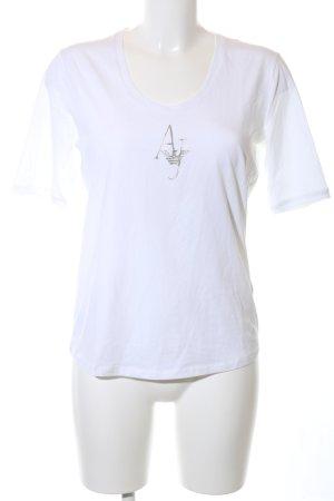 Armani Jeans T-Shirt weiß Schriftzug gedruckt Casual-Look