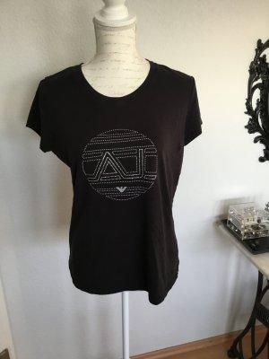 Armani Jeans T-Shirt schwarz mit Strasssteinchen