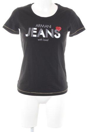 Armani Jeans T-shirt nero caratteri stampati stile casual