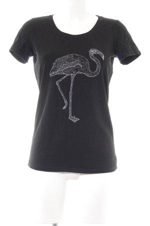 Armani Jeans T-Shirt schwarz-weiß Motivdruck Casual-Look