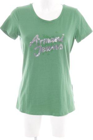 Armani Jeans Camiseta verde bosque estampado floral look casual
