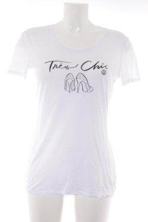Armani Jeans T-Shirt weiß-schwarz Motivdruck Casual-Look