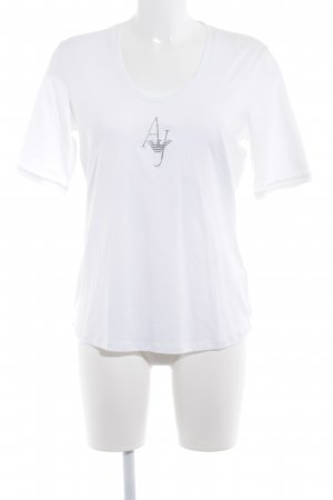 Armani Jeans T-Shirt white-silver-colored casual look