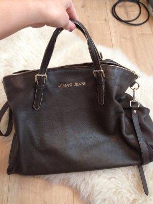 Armani Jeans Tasche dunkelbraun echt Leder