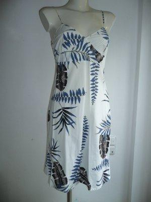 Armani Jeans Träger Kleid A-Linie Tropical Palmen Print Weiß Blau Braun Schwarz Gr 36-38