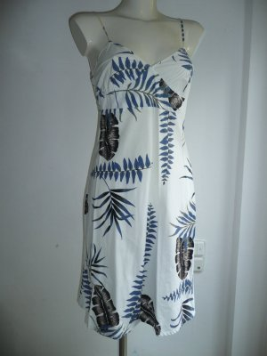 Armani Jeans Träger Kleid Dress Palmen Blätter Print Weiß + Blau + Grau Gr 36-38