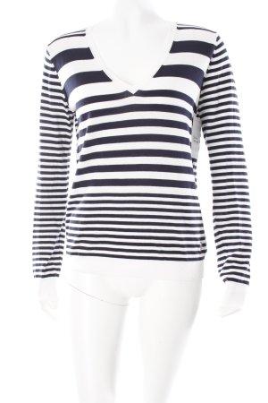 Armani Jeans V-Ausschnitt-Pullover weiß-dunkelblau Streifenmuster