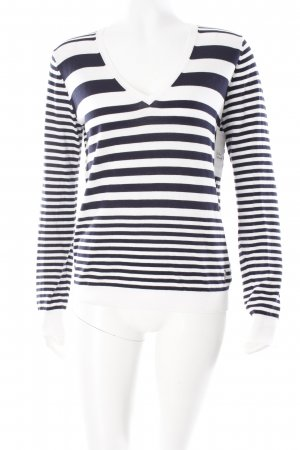 Armani Jeans V-halstrui wit-donkerblauw gestreept patroon