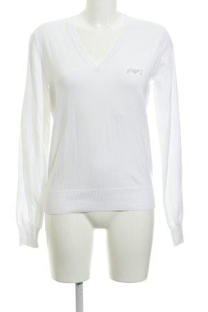 Armani Jeans Jersey con cuello de pico blanco estilo naval