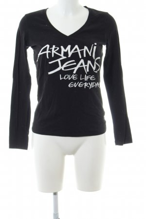 Armani Jeans V-Neck Shirt black-white printed lettering casual look