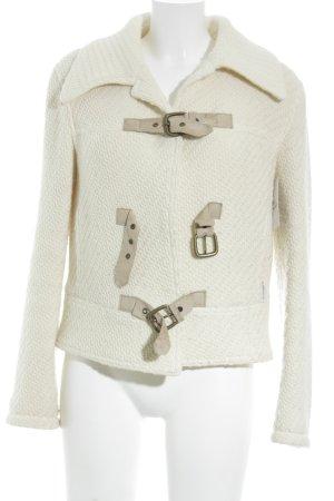 Armani Jeans Wolljacke hellbeige-beige Webmuster Casual-Look