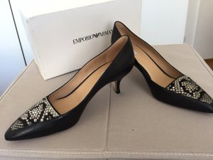 Armani High Heels black-white leather