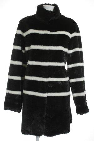 Armani Cappotto in eco pelliccia nero-bianco strisce orizzontali elegante