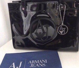 Armani Lack Handtasche Schwarz
