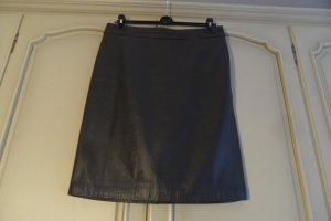 Armani Collezioni Leather Skirt dark grey leather
