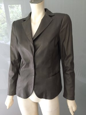 Armani Lederblazer Blazer 38 Metallic Grau Grün Leder-Jacke Jacket Grey S-M Top