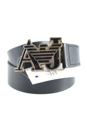 Armani Cinturón de cuero negro-color oro look vintage