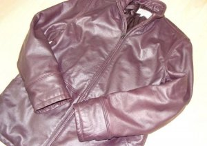 Armani Leather Jacket brown violet leather