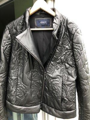 Armani Leather Jacket black-silver-colored