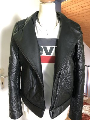 Armani Leather Jacket black-silver-colored