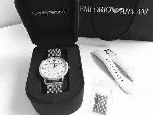 Armani Nr 2465 Damenarmbandhuhr mit Stahlarmband zusätzlich Leder weiß OVP-
