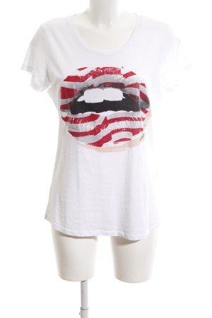 Armani Print Shirt white-red printed lettering street-fashion look