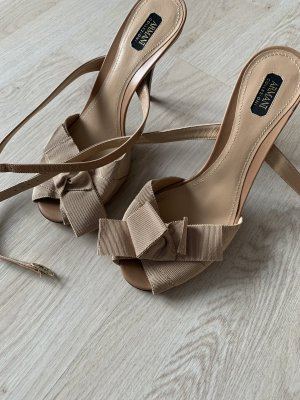 Armani Strapped High-Heeled Sandals beige leather