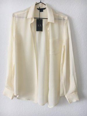 Armani Exchange Zijden blouse licht beige