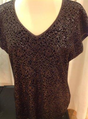 Armani Collezioni V-hals shirt taupe Gemengd weefsel