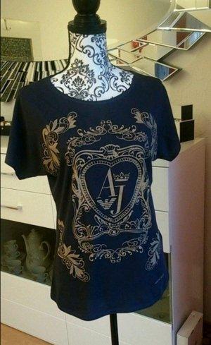 Armani T-Shirt Oberteil Marine mit Druck
