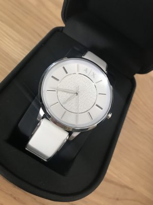 Armani Watch With Leather Strap white-silver-colored