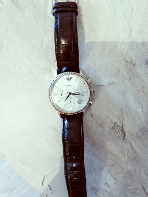 Armani Watch With Leather Strap black-silver-colored