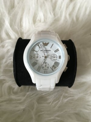 Armani Montre analogue blanc-argenté