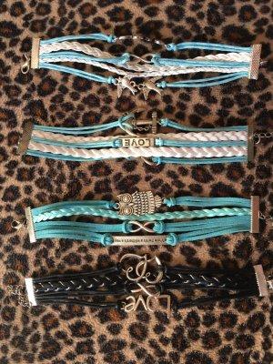 Armbänder - Blau - Schwarz mit verschiedenen Motiven 4stück