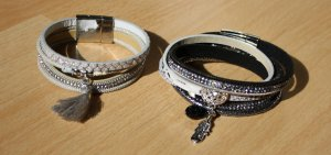 Armbänder - Doppelpack - grau/schwarz/silber