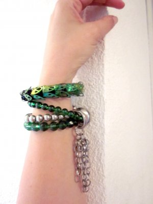 Armbänder Grün Silber Ausgefallen