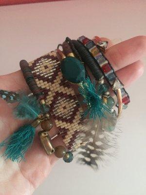 Armbänder Reifen Boohoo Hippie vintage Feder Erdtöne