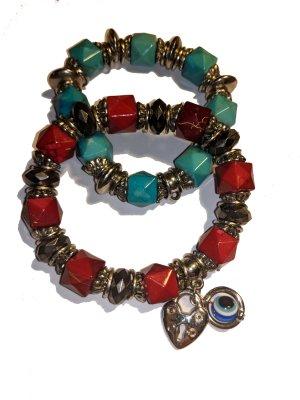 Armbänder Set türkis und rot - Boho