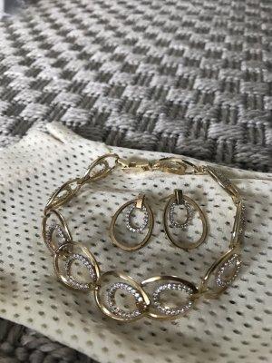 Armband 14K vergoldetes 925 Sterling Silber mit Steinchen Schmuckset Zirkonia Ohrringe