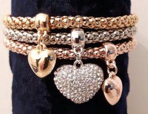 Armband 3-teilig Herz Charm Bracelets mit Kirstall versch. Farben