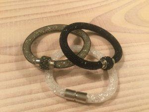 Armband 3er Set schwarz weiß Silber  Magnetverschluss und Strass Metallic Look