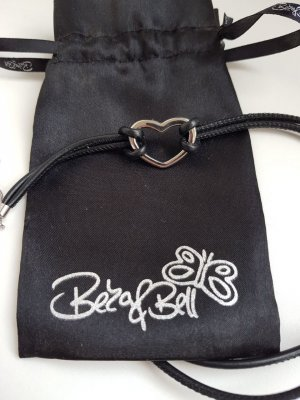 Beka & Bell Bracelet en cuir noir-argenté