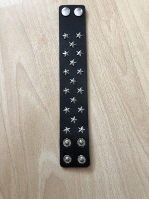 Bracelet en cuir noir-argenté