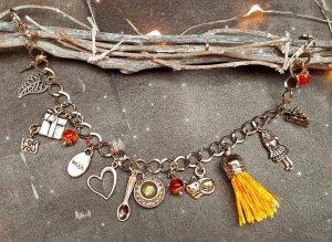 Armband Alice im Wunderland gelb silber neu diy handgemacht Stein gelb bronze Fee Blume Tee orangen
