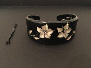 Armband Armreif Armspange schwarz beige Strass Blumen edel Creme feminin romantisch Weihnachten Geschenk