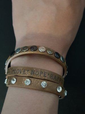 Lederen armband brons-lichtbruin