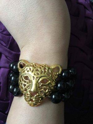 Armband Armreifen Perlen schwarz Kopf Löwe Leopard